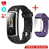 CHEREEKI Fitness Tracker, Heart Rate Monitor Activity Tracker with Blood Pressure Sleep Monitor 14 Sports Tracking, Color Screen IP68 Waterproof, Fitness Watch Step Calorie Counter (Black and Purple)