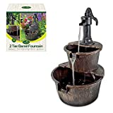 GardenKraft 20890 2-Tier Barrel Water Fountain With Pump / Traditional Rustic Wood Effect / Self Contained Water Pump / 67cm x 41cm