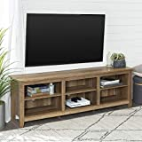 Walker Edison Furniture Company Minimal Farmhouse Wood Universal Stand for TV's up to 80' Flat Screen Living Room Storage Shelves Entertainment Center, 70 Inch, Reclaimed Barnwood