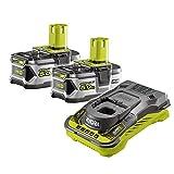 Ryobi RC18150-250 5133004422 Batteries avec chargeur (18 V, 2 batteries de 5 Ah, autonomie de 60 min, indicateur de l'état de charge, autonomie multipliée par 3)