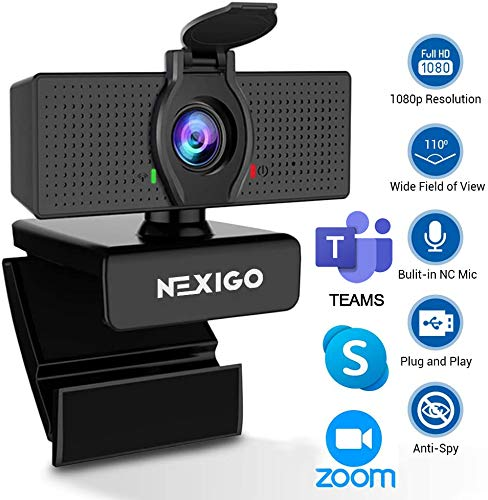 2020 [Upgraded] 1080P Webcam with Microphone & Privacy Cover - NexiGo 110-degree Wide Angle Widescreen USB HD Camera, Plug and Play, Laptop Computer Web Cam for Zoom YouTube Skype FaceTime OBS