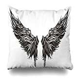 Ahawoso Throw Pillow Cover Eagle Tattoo Magnificent Wingspan Fantasy Demon Monster Wing Dark Angel Abstract Alchemy Design Decorative Cushion Case 20x20 Inches Square Home Decor Pillowcase