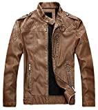chouyatou Men's Vintage Stand Collar Pu Leather Jacket (Large, HZQM109-Brown)