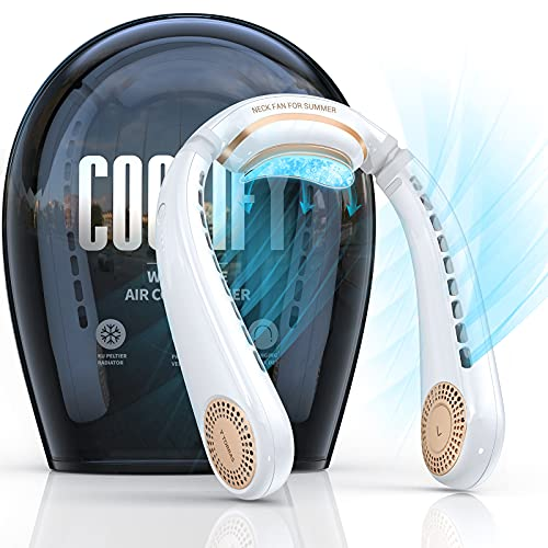 TORRAS Coolify Portable Air Conditioner Neck Fan, 360° Cooling Semiconductor Cooling Bladeless Fans 4000 mAh Rechargeable Portable Fan for Office/ Outdoor/ Home, 3 Speeds neck cooler, Pearl White