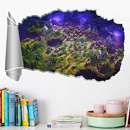 Fortnite Fortress Night Map Broken Wall Efecto estéreo Etiqueta de la pared Habitación para niños Sala de juegos Etiqueta,MU85012