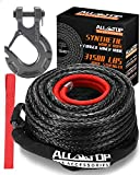 ALL-TOP Synthetic Winch Rope Cable Kit: 1/2' x 92 ft 31500LBS Winch Line with Protective Sleeve + Forged Winch Hook + Safety Pull Strap go for 4WD Off Road Vehicle Truck SUV Jeep ATV UTV