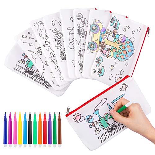 GWHOLE Bustine da Colorare Penna Colorata per Bambini, 8 Astucci da Colorare e 12 Colori Penne,...