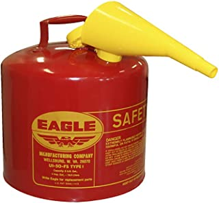 Eagle UI-50-FS Red Galvanized Steel Type I Gasoline Safety Can with Funnel, 5 gallon..