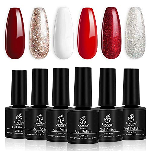 Beetles Candy Cane Gel Nail Polish Set - 6 Colors Glitter Burgundy Red Sparkle Gel Polish Kit Snow White Silver Nail Gel Soak Off LED New Year Kit Valentine's Day Girlfriend Gift for Women Mom Box