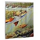 Shower Curtain Fabric 60 X 72 Inch Brook Trout Fly Fishing Bathroom Curtains Set with Hooks, Water Repellent, Machine Washable
