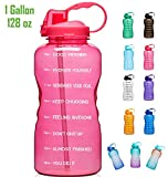 Giotto Large Gallon Motivational Water Bottle with Time Marker & Straw, Leakproof Tritan BPA Free, Ensure You Drink Enough Water Daily for Fitness, Gym and Outdoor Sports-Pink