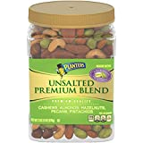 PLANTERS Premium Blend Roasted Mixed Nuts, Unsalted, Whole Nuts, 34.5 oz. Resealable Container | Roasted Cashews, Almonds, Hazelnuts, Pecans & Pistachios | Unsalted Snacks | Kosher