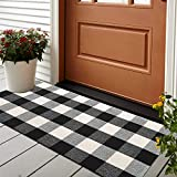 Cotton Buffalo Plaid Rugs 24'x 51' Black and White Hand-Woven Checkered Rug Welcome Door Mat Bathroom Outdoor Porch Laundry Living Room Rug for Kitchen Carpet Braided Throw Mat