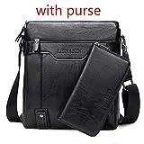 JPDP Llegada Fashion Business Leather Men Messenger Bags Maletín para documento Bolso Satchel Portfolio Brief Case Bolsa para teléfono Negro
