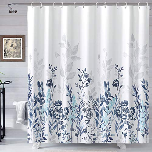 Neasow Blue and Grey Shower Curtain, Watercolor Floral Bathroom Curtain Teal and White Shower Curtains 72×72...
