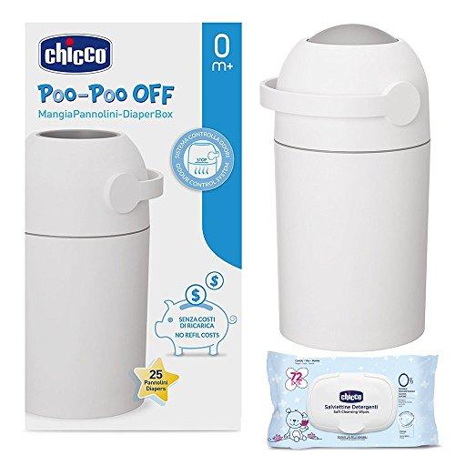 CHICCO Starter-Set: Windeleimer ODOUR OFF, silber - geruchsdichtes System, herkömmliche Tüten verwendbar Feuchttücher, Baby-Moments, 72 Stück, 0M+ mit Formel aus Lotusblüte