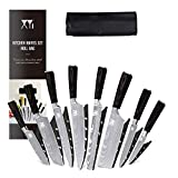 XYJ Stainless Steel Kitchen Knives Set 8 Piece Chef Knife Set with Carry Case Bag & Sheath Razor Sharp Well Balance
