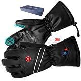 Kamlif Heated Gloves for Men Heat Touch Screen Leather Gloves Electric Rechargeable Battery Powered Ski Gloves Hand Warmer in Winter Cold Weather Outdoor Activities