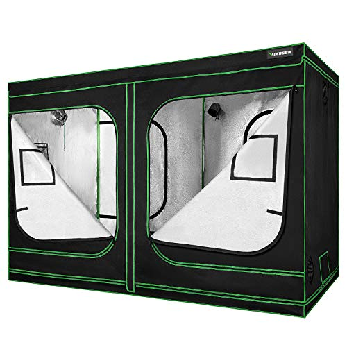 VIVOSUN 96'x48'x80' Mylar Hydroponic Grow Tent with Observation Window and Floor Tray for Indoor Plant Growing 4'x8'