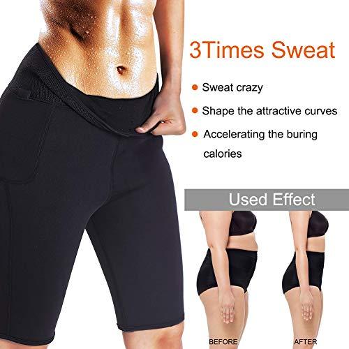 LODAY Neoprene Sauna Shorts with Pocket for Women Weight Loss Sweat Pants Workout Body Shaper Yoga Leggings (Black, XL) 2