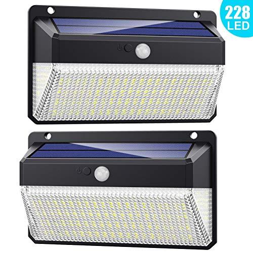 Luce Solare Led Esterno 228 LED, 【Versione migliorata 2200 mAh】Lampada Solare con Sensore di...
