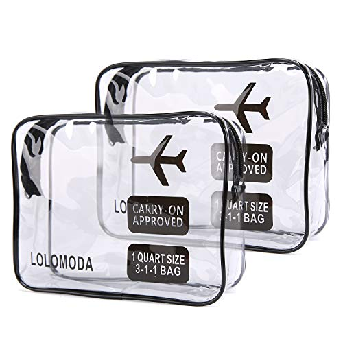 Kulturbeutel Transparenter, 2 Durchsichtige Flugzeug Beutel, Kosmetiktasche für Koffer, Kulturtasche zum Transport von Flüssigkeiten, Transparente Toilettentasche Damen & Herren (Schwarz)