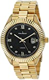 Peugeot 14K Gold Plated'Diamond' Luxury Dress Watch with Fluted Bezel and Calendar