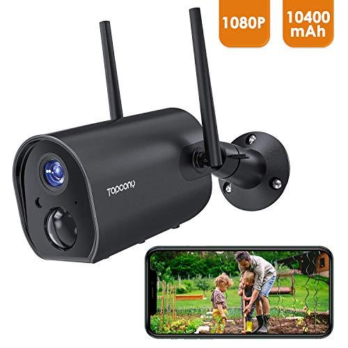 Topcony Telecamera Wifi Esterno Senza Fili, 1080P Videocamera di Sicurezza con Batteria Ricaricabile, PIR Rilevamento del Movimento Umano, Visione Notturna 20m, Audio a 2 Vie, IP65 Impermeabile