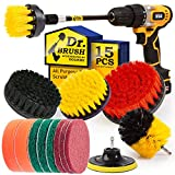 Holikme 15Piece Drill Brush Attachments Set, Scrub Pads & Sponge,Buffing Pads,Power Scrubber Brush...