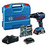 Bosch Professional 18V System GSB 18V-55 - Taladro percutor a batería (55 Nm, 2 baterías x 2.0 Ah,...