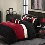 Empire Home 8-Piece Oversized Red & Black Comforter Set Bedding with Sheet Set (Queen Size)