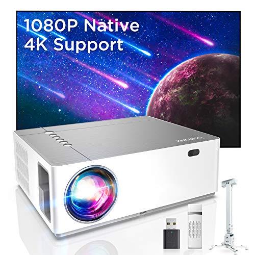 Bomaker Proiettore Supporta 4K 7200 Lm, Nativo Full HD 1080P, Correzione trapezoidale 6D e 50, Bassa Latenza, 300''Display/Dolby/2 USB/2 HDMI/SD/AV/VGA Per Office Work e Film all'Aperto, Parrot