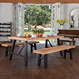 Christopher Knight Home Arlington | Acacia Wood Dining Set | in Brushed Grey, Color: Natural Grain