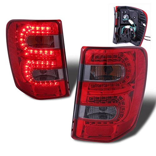 SPPC Red/Smoke LED Tail Lights Assembly Set for Jeep Grand Cherokee - (Pair) Includes Driver Left and Passenger Right Side Replacement