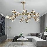 Saffbei Crystal Chandelier Modern Sputnik Chandeliers Crystal Pendant Light with 18 Lights Contemporary Gold Chandeliers Ceiling Light Fixtures for Living Room Bar Shop