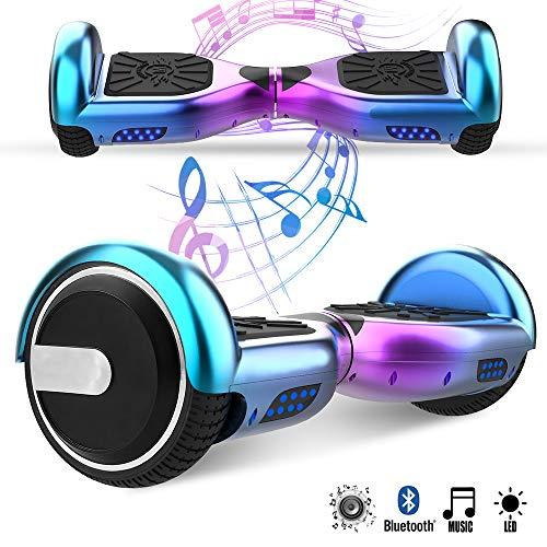 Magic Vida Skateboard Électrique 6.5 Pouces Bluetooth avec LED Gyropode Auto-Équilibrage de Bonne qualité pour Enfants et Adultes(Violet Cyan