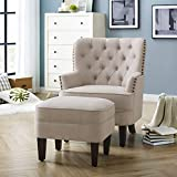 Rosevera Home Gustavo Collection Fabric Nailhead Club Chair, Beige with Ottoman