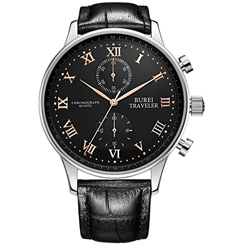 BUREI Men Chronograph Watches with Day Date Analog Dial Genuine Leather Strap & Stainless Steel Watch Band (BM-7005-P51EY-1XG)