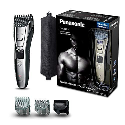 Panasonic ER-GB80-S503 Regolabarba e Tagliacapelli Impermeabile e Lavabile, Taglio 1-20 mm, Lame in acciaio inox, Argento