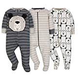 Gerber Onesies Baby Boy Sleep N Play Sleepers 3 Pack (3-6 Months, Gray Bears)