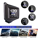 Kairiyard FHD Head Up Display HUD OBD2+GPS Gauge Dual System 8 Modes Display Icons ECU Data Speedometer Odometer Mileage OBD2 Diagnostic Turbo Pressure Oil/Water Temperature Altitude Compass