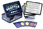 """125 trivia cards with 500 Questions about Seattle sports Easy """"Race to 21"""" game play Football. Baseball. Basketball. Players. Coaches. Trades. Draft picks. Numbers and records. Buildings, ballparks, and arenas. It's all here."""