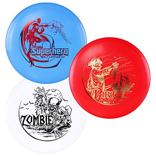 D·D DYNAMIC DISCS Latitude 64° SPZ Disc Golf Starter Set | Set Includes a Base Plastic Superhero, Pirate, and Zombie | Beginner Friendly Disc Golf Starter Set | Stamp Colors Will Vary