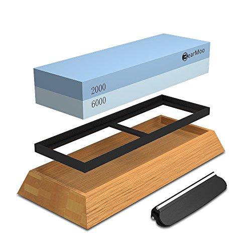 Schleifstein Set, BearMoo Wetzstein mit 2000/6000 Körnung, Abziehstein für Messer inkl. Anleitung zum Messer schärfen und Gummi-Steinhalter sowie Bambus Basis und Messer-Halter