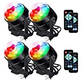 [Latest 6-Color LEDs] Litake Party Lights Disco Ball Lights Strobe Light, 7 Patterns Sound Activated with Remote Control Dj Lights Stage Light for Party Bar Club Festival Wedding Show Home-4 Pack