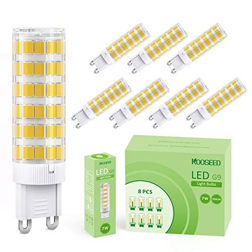 Lampadine LED G9 7W, KOOSEED G9 LED Lampadina Luce Equivalenti a 70W, 8 Pezzi, 700lm, 3000K Bianco Caldo, Angolo a fascio 360 , Nessun Lampeggio Non Dimmerabile Risparmio Energetico Lampadine