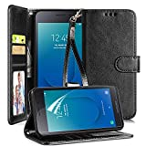 CaseTank for Samsung Galaxy J2 Case,Galaxy J2 Core Case/Galaxy J2 Dash,J2 Pure,J260,J2 Shine Case W Screen Protector Crazy Horse PU Leather Flip Wallet Case with Kickstand Card Slots Wristlet,Black