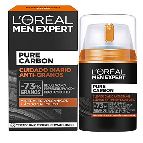 L'Oréal Paris Men Expert Crema Cuidado Diario Anti-Granos Pure Carbon, Reduce Imperfecciones, Hidrata y Matifica el Rostro, Con Minerales Volcánicos y Ácido Salicílico, 50 ml