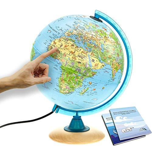 Interkart Kinder-Globus - 25cm Globus mit Holzfuß,...