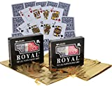 Deluxe Games and Puzzles Royal Plastic Playing Cards with Large Numbers Bundle of 4 Decks Two Plastic Cases Bonus Two Gold Metallic Drawstring Storage Pouches